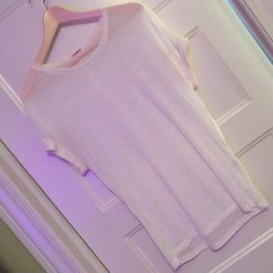 Kontatto Tops - European Boutique - ivory Sheer T-shirt, size M/L